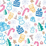 Good New Year spirit. Pattern with Christmas and New Year attributes Stock Photo