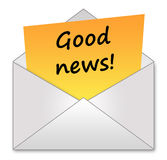Good news. Letter with joyful and good news Stock Images
