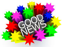 Good News. Surrounded by colorful stars over white background Royalty Free Stock Image
