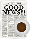Good news. The newspaper with a headline Good news and a cup of coffee Royalty Free Stock Image
