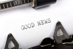 Good News. Typewriter close up shot, concept of Good News Royalty Free Stock Photography