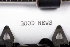 Good News. Typewriter close up shot, concept of Good News Royalty Free Stock Image
