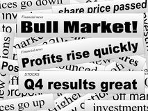 Good news. Good investor news. Bull market. Financial newspaper cuttings. Incomplete words. Vector illustration Stock Photography