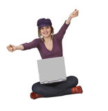 Good news. Happy young woman sitting with a laptop in her lap Stock Image