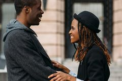 Good news for African American. Happy couple royalty free stock image
