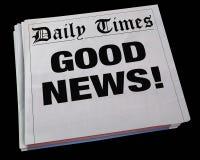 Good News Announcement Spinning Newspaper Headline 3d Illustrati. On Royalty Free Stock Photo