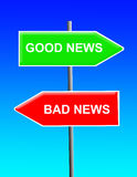 Good news, bad news. Different roads to good and bad news Stock Photography