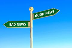 Good news or bad news. Good news and bad news in arrow sign board on blue sky background Royalty Free Stock Image