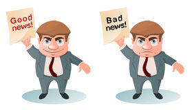 Good News Bad News. Businessman holding sign. Cartoon styled vector illustration. Elements is grouped and divided into layers for easy edit Stock Image