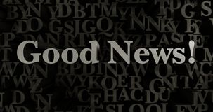 Good News! - 3D rendered metallic typeset headline illustration. Can be used for an online banner ad or a print postcard Stock Image