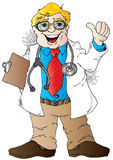 Good News Doctor. Cartoon illustration of a Smiling Doctor Giving a Thumbs Up Royalty Free Stock Image