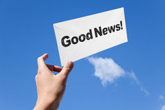 Good News and envelope. Good News,envelope and blue sky, concept of success Stock Photography
