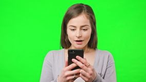 Good News on Her Phone stock video