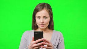 Good News on Her Phone stock video footage
