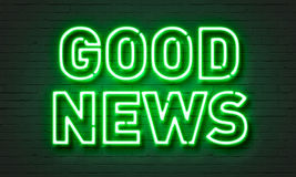 Good news neon sign on brick wall background. Stock Photography