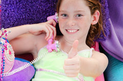 Good news on phone. Girl getting good news on phonecall Stock Images