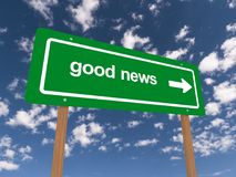 Good news road sign Stock Images