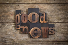 Good news written with letterpress type Royalty Free Stock Photography