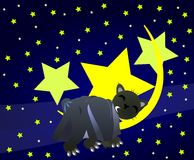 nice bear which sleeps on the moon Royalty Free Stock Image