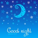 Good night. Pattern of the night stars and the moon Royalty Free Stock Photography