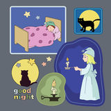Good night. Bright illustrations with wishes of good night vector illustration