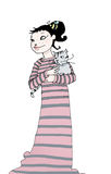Good night. A girl with her cat, ready to sleep. Digital illustration isolated on a white background Stock Photos