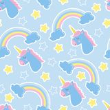 Good night background. Seamless pattern with unicorns. Clouds, stars and rainbow. Children`s background. It can be used for websites, packing, fabrics royalty free illustration