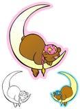 Good night bear. Sleepy cuddle bear, in a night cap, on a crescent moon stock illustration