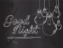 Good Night Bulbs Vector Background. Vector Art Royalty Free Stock Photography