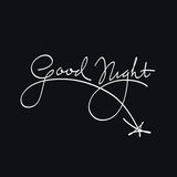 Good Night. Calligraphic Artistic Lettering White On Blue Royalty Free Stock Images