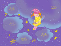 Good night card. With  fairy Royalty Free Stock Images