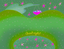 Good night card. With  bird Stock Photo
