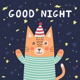 Good night card with a cute cat Royalty Free Stock Photos