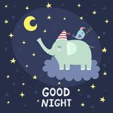 Good night card with cute elephant flying on the cloud royalty free illustration