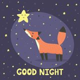 Good night card with cute fox and star Royalty Free Stock Photography