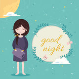 Good night card. Cute girl in the sleepwear holding pillow. Blue sky background with constellation pattern. Stock Photography