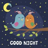 Good night card with cute sleeping birds Stock Images