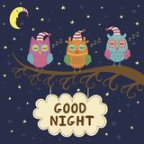 Good night card with cute sleeping owls Royalty Free Stock Photos
