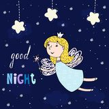Good night card. Hand Drawn cute cartoon Fairy vector illustration.  Royalty Free Stock Image