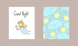 Good night card. Hand Drawn cute cartoon Fairy vector illustration.  Royalty Free Stock Images