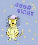 Good night card with sleeping lion stock illustration
