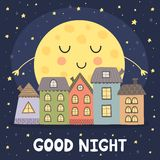 Good night card with smoon and city landscape Royalty Free Stock Photography