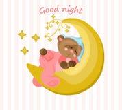 Good night card with teddy bear sleeping on the moon Vector. Illustration Stock Image