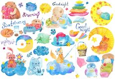 Good night cartoon collection. Cartoon illustration of hand drawing elements, Good night collection, cute animals and children Stock Photography