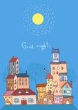 Good night cityscape vector illustration Stock Image
