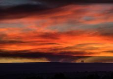 Good Night Colorado Wildfire. This image depicts a wildfire in Western Colorado, known as the Bull Draw Fire as it rises to meet a colorful sunset royalty free stock image