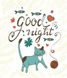 Good night concept card with cute cat flowers twigs and sardines Stock Photos