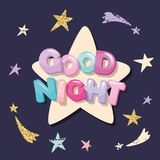 Good night cute design for pajamas, sleepwear, t-shirts. Cartoon letters and stars in pastel colors with glitter elements. Royalty Free Stock Images