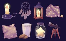 Good night dream set. Dreamcatcher, wooden lantern, telescope, jar with star, cookie and milk, pillow, sleeping hat, candle. Mystery hand drawn objects for vector illustration