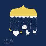 Good night . Dreaming baby. Concept idea. Moon and dreaming baby. Concept idea. Vector illustration.EPS 8 Stock Photography